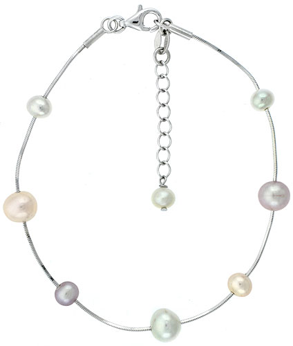 Sterling silver Pearl Bracelet Freshwater 7, & 5 mm Rhodium Finish, 7.5 inch long + 1 in. Extension