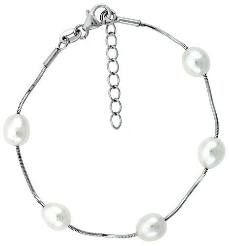 Sterling silver Pearl Bracelet Freshwater 8 mm Rhodium Finish, 6.5 inch long + 1 in. Extension