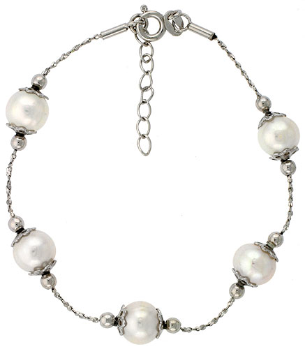 Sterling silver Pearl Bracelet Freshwater 8 mm Rhodium Finish, 7 inch long + 1 in. Extension