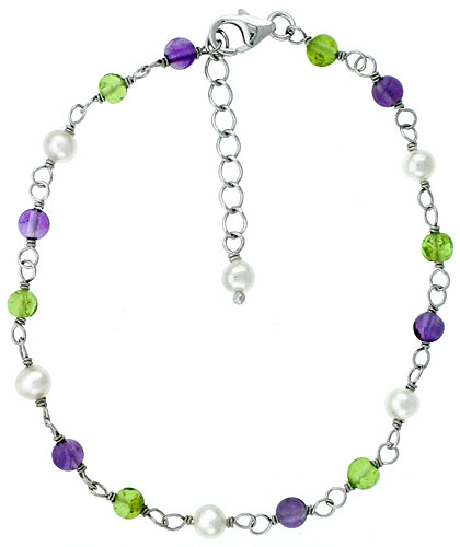 Sterling silver Pearl Bracelet Freshwater w/ Amethyst and Peridot Beads Rhodium Finish, 7 inch + 1 in. Extension