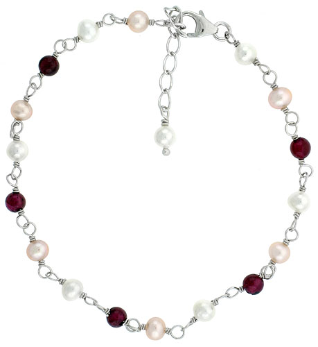 Sterling silver Pearl Bracelet Freshwater 4 mm Pearl & Garnet Beads Rhodium Finish, 7 inch + 1 in. Extension