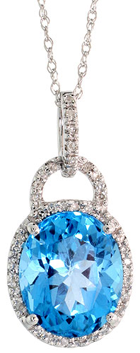 "14k White Gold 18"" Chain & 7/8"" (23mm) tall Blue Topaz Pendant, w/ 0.15 Carat Brilliant Cut Diamonds & 4.70 Carats 11x9mm Oval Cut Blue Topaz Stone"