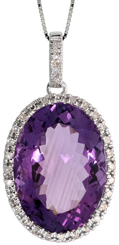 "14k White Gold 16"" Chain & 1 1/8"" (29mm) tall Amethyst Pendant, w/ 0.28 Carat Brilliant Cut Diamonds & 13.85 Carats 18x12mm Oval Cut Amethyst Stone"