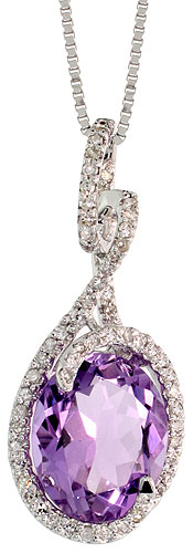 "14k White Gold 18"" Chain & 1"" (26mm) tall Swirl Pendant, w/ 0.26 Carat Brilliant Cut Diamonds & 3.71 Carats 11x9mm Oval Cut Amethyst Stone"