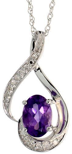 "14k White Gold 18"" Chain & 3/4"" (20mm) tall Loop Pendant, w/ 0.07 Carat Brilliant Cut Diamonds & 0.72 Carat 7x5mm Oval Cut Amethyst Stone"
