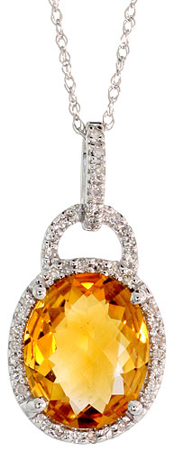 "14k White Gold 18"" Chain & 7/8"" (23mm) tall Citrine Pendant, w/ 0.15 Carat Brilliant Cut Diamonds & 4.70 Carats 11x9mm Oval Cut Citrine Stone"