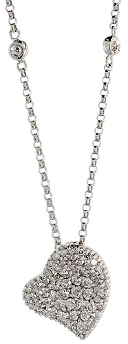 "14k White Gold 16"" Chain & 1/2"" (13mm) tall Fancy Diamond Heart Pendant, w/ 0.53 Carat Brilliant Cut Diamonds"