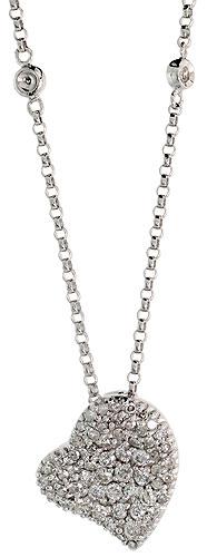 "14k White Gold 16"" Chain & 1/2"" (13mm) tall Fancy Diamond Heart Pendant, w/ 0.53 Carat Brilliant Cut Diamonds"