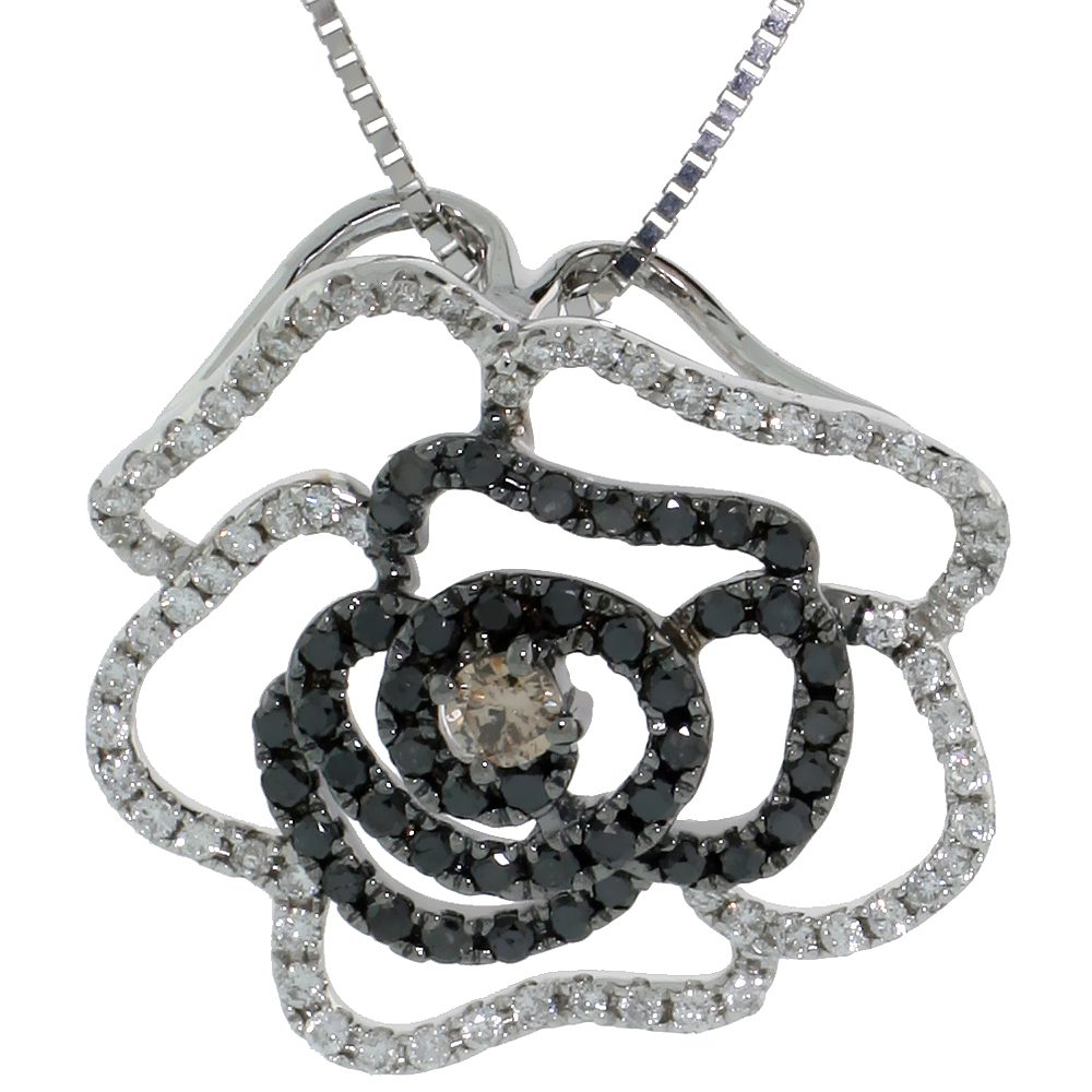 "14k White Gold 18"" Box Chain & 3/4"" (19mm) tall Flower Diamond Pendant, w/ 0.70 Carat Brilliant Cut White, Black & Fancy Brown D"