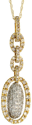 "14k Gold 18"" Chain & 1 5/16"" (35mm) tall Oval Diamond Pendant, w/ 0.74 Carat Brilliant Cut Diamonds"