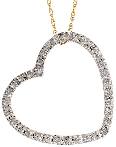 "14k Gold 18"" Chain & 13/16"" (21mm) tall Diamond Heart Pendant, w/ 0.26 Carat Brilliant Cut Diamonds"