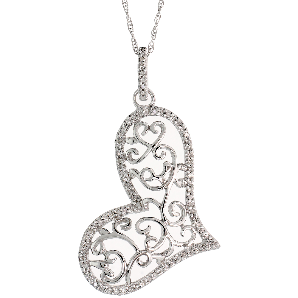 "14k White Gold 18"" Chain & 1 3/8"" (36mm) tall Filigree Heart Diamond Pendant, w/ 0.22 Carat Brilliant Cut Diamonds"