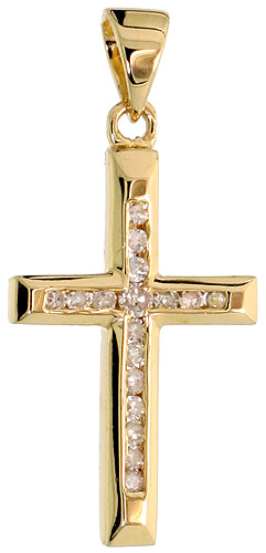"14k Gold 3/4"" (19mm) tall Diamond Latin Cross Pendant, w/ 0.12 Carat Brilliant Cut Diamonds"