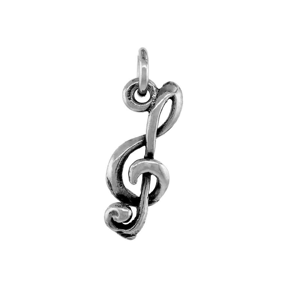 Sterling Silver G-clef Charm Pendant, 3/4 inch