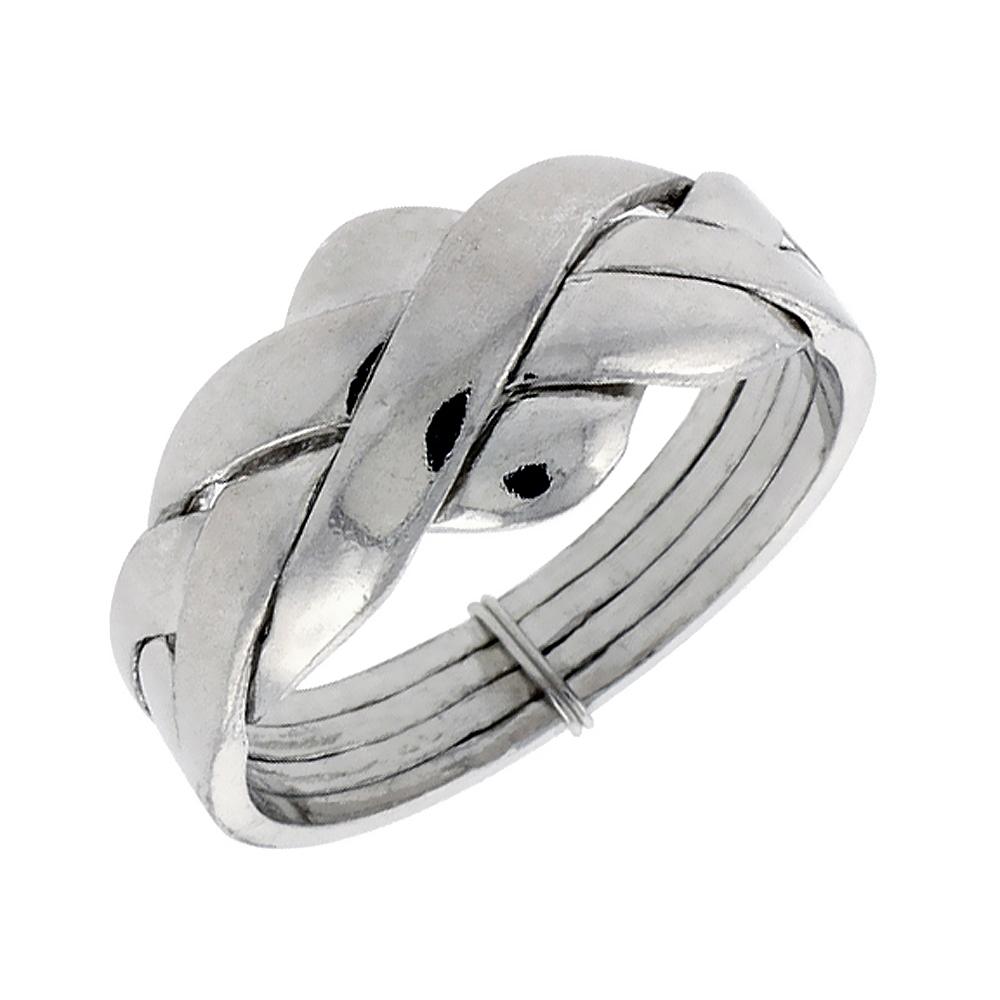 Sterling Silver 4-Piece Love Knot Braided Design Puzzle Ring Band, 3/8 in. (10 mm) wide
