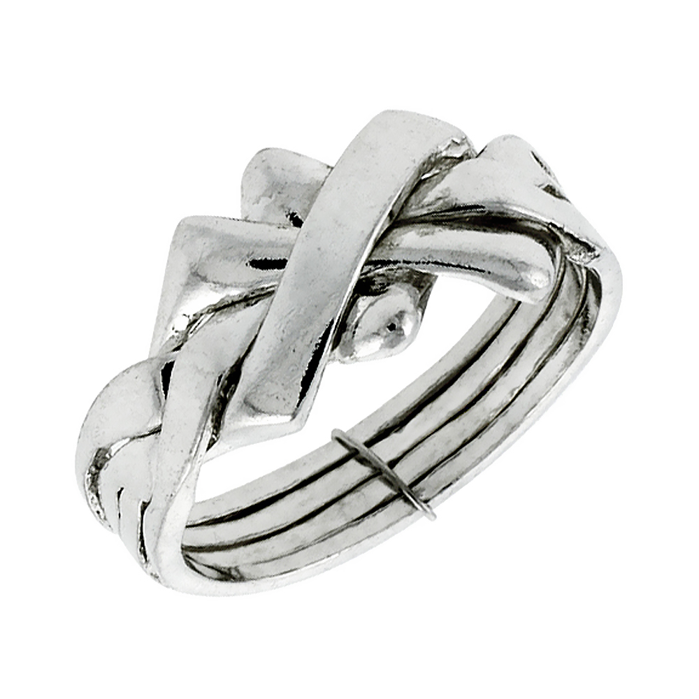 Sterling Silver 4-Piece Woven Braided Design Puzzle Ring Band, 7/16 in. (11 mm) wide