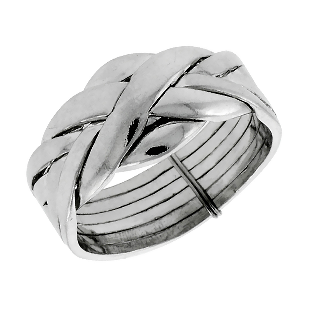 Sterling Silver 6-Piece Love Knot Braided Design Puzzle Ring Band, 7/16 in. (11 mm) wide