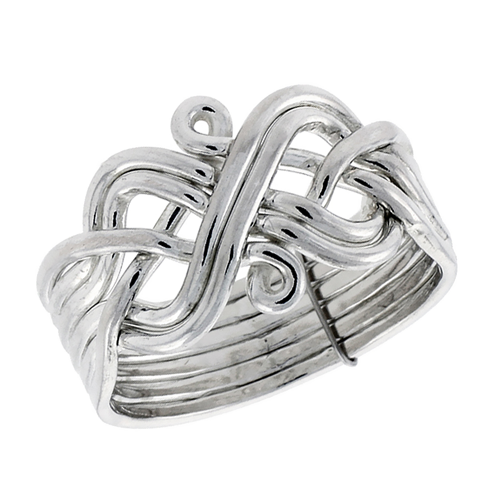 Sterling Silver 6-Piece Celtic Loop Design Puzzle Ring Band, 1/2 in. (13 mm) wide