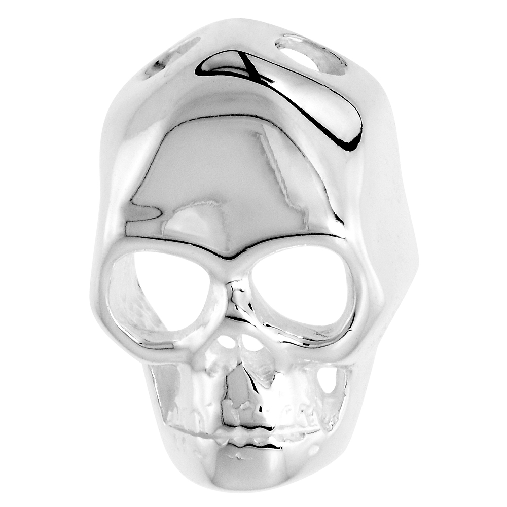 Sterling Silver Skull Mask Pendant High Polished Large, 13/16 inch