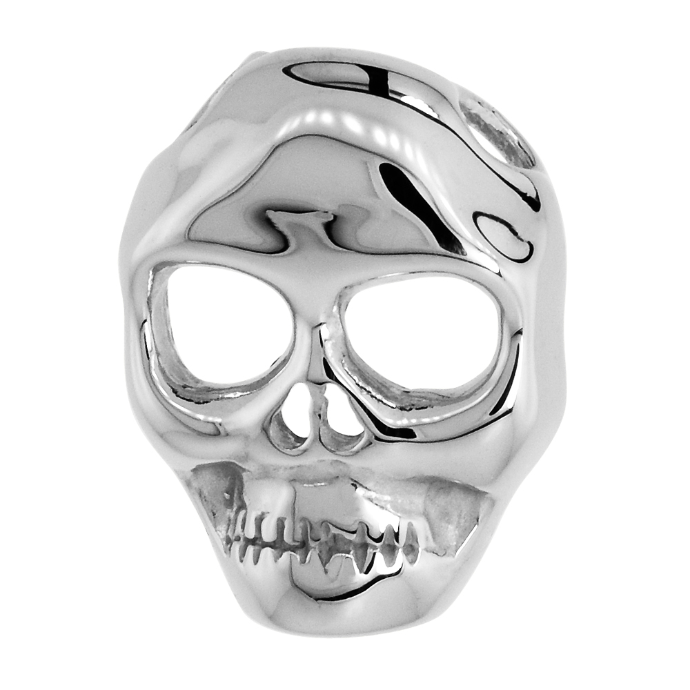 Sterling Silver Hollow Skull Pendant Rhodium Finish, 11/16 inch long