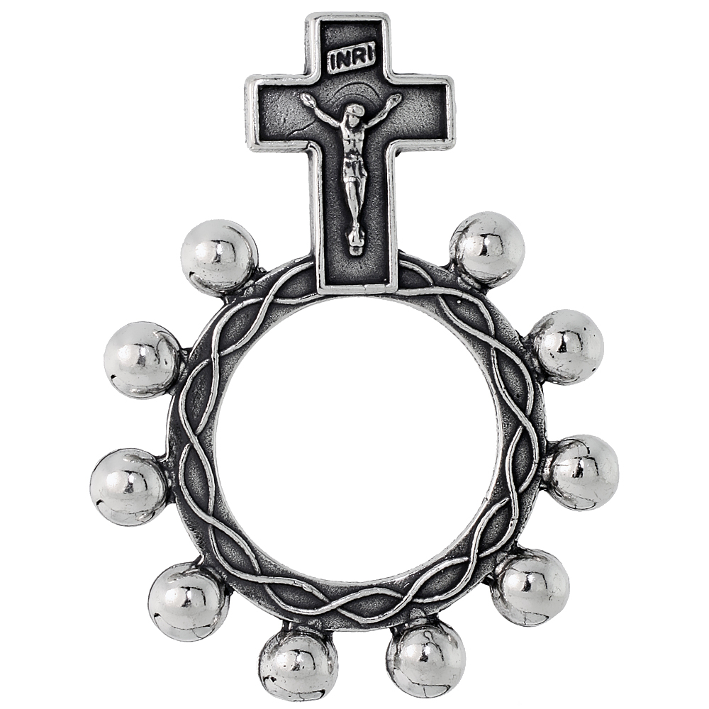 Sterling Silver Rosary Ring One Mystery Single Decade Ring Rosary, 1 11/16 inch