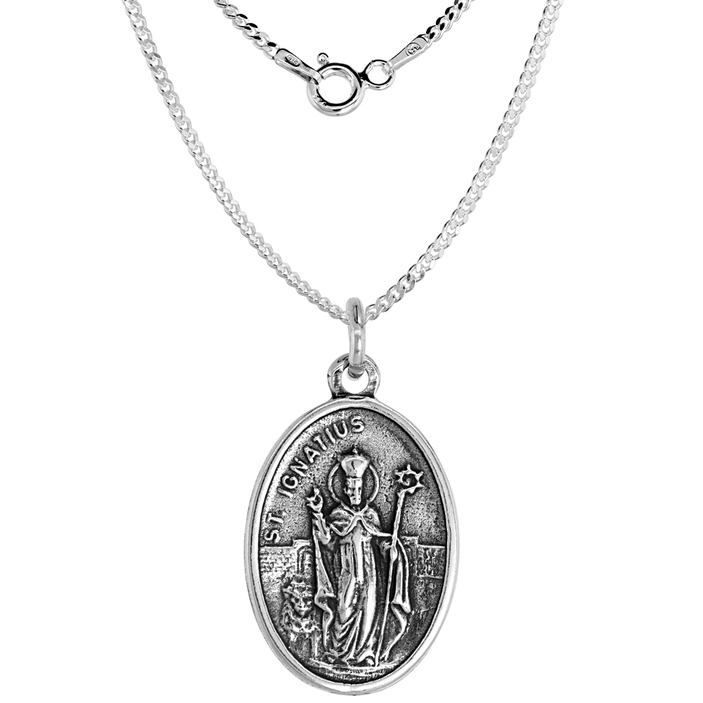 Sterling Silver St Florian Medal Necklace Oval 1.8mm Chain