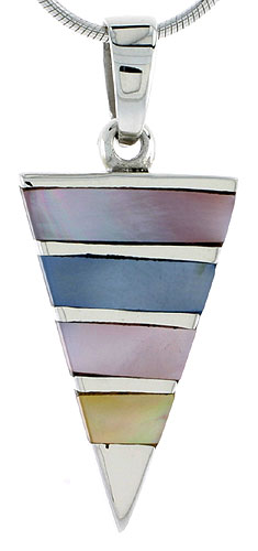 "Sterling Silver Triangular Pink, Blue & Light Yellow Mother of Pearl Inlay Pendant, 1 1/8"" (28 mm) tall"