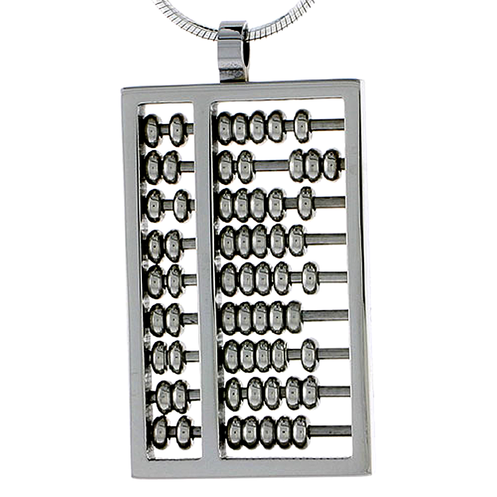 Stainless Steel Abacus Charm Necklace 1 3/16 inch tall, w/ 30 inch Chain