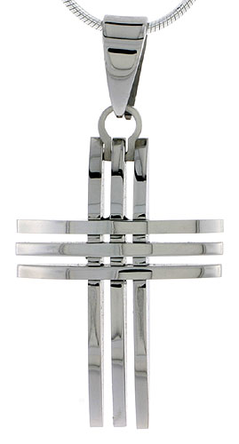 Stainless Steel 3-Bar Cross Necklace 1 1/4 inch tall, w/ 30 inch Chain