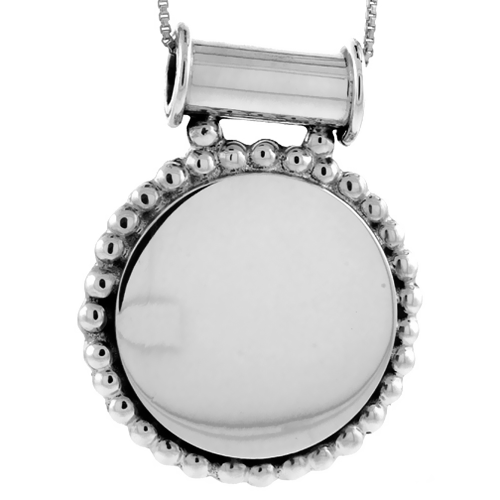 Sterling Silver Beaded Round Disc Pendant Engravable Beaded Edge Handmade, 1 5/16 inch long