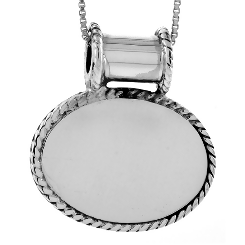 Sterling Silver Oval Disc Pendant Engravable Rope Edge Handmade, 13/16 inch long