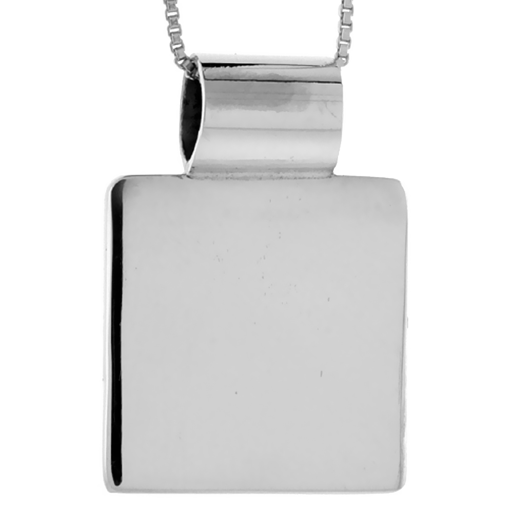 Sterling Silver Square Disc Pendant Engravable Handmade, 7/8 inch long