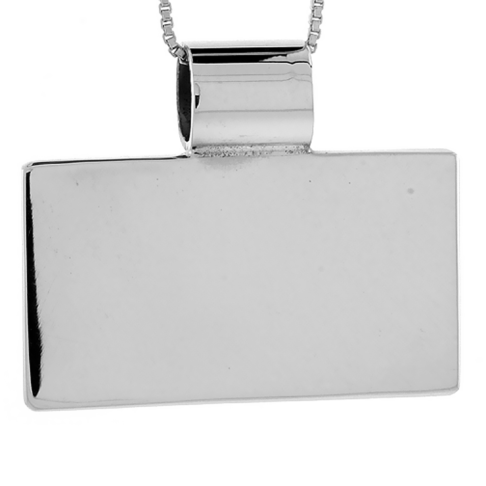 Sterling Silver Large Rectangular Disc Pendant Engravable Handmade, 13/16 inch long