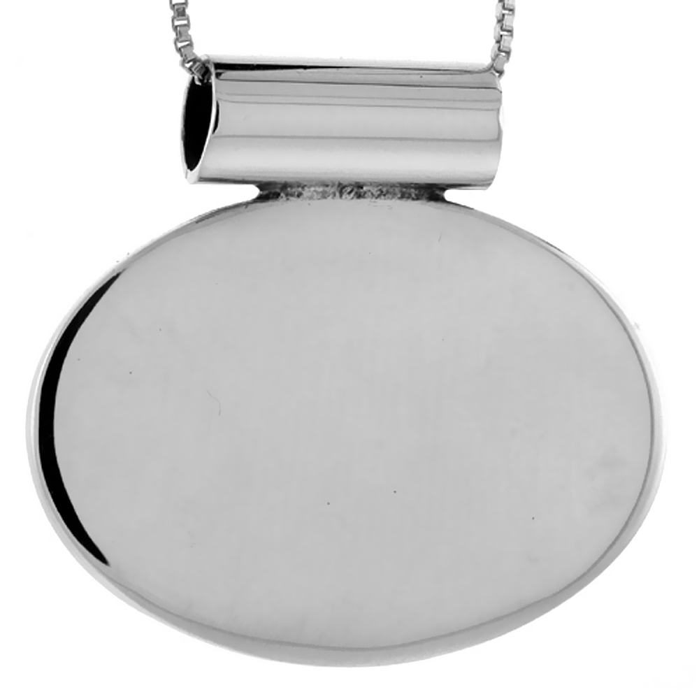 Sterling Silver Large Oval Disc Pendant Engravable Handmade, 1 inch long