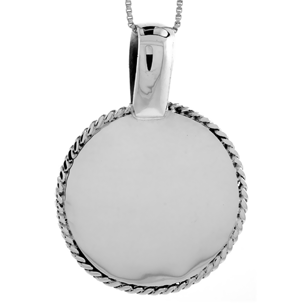 Sterling Silver Round Disc Pendant Engravable Rope Edge Handmade, 1 1/4 inch long