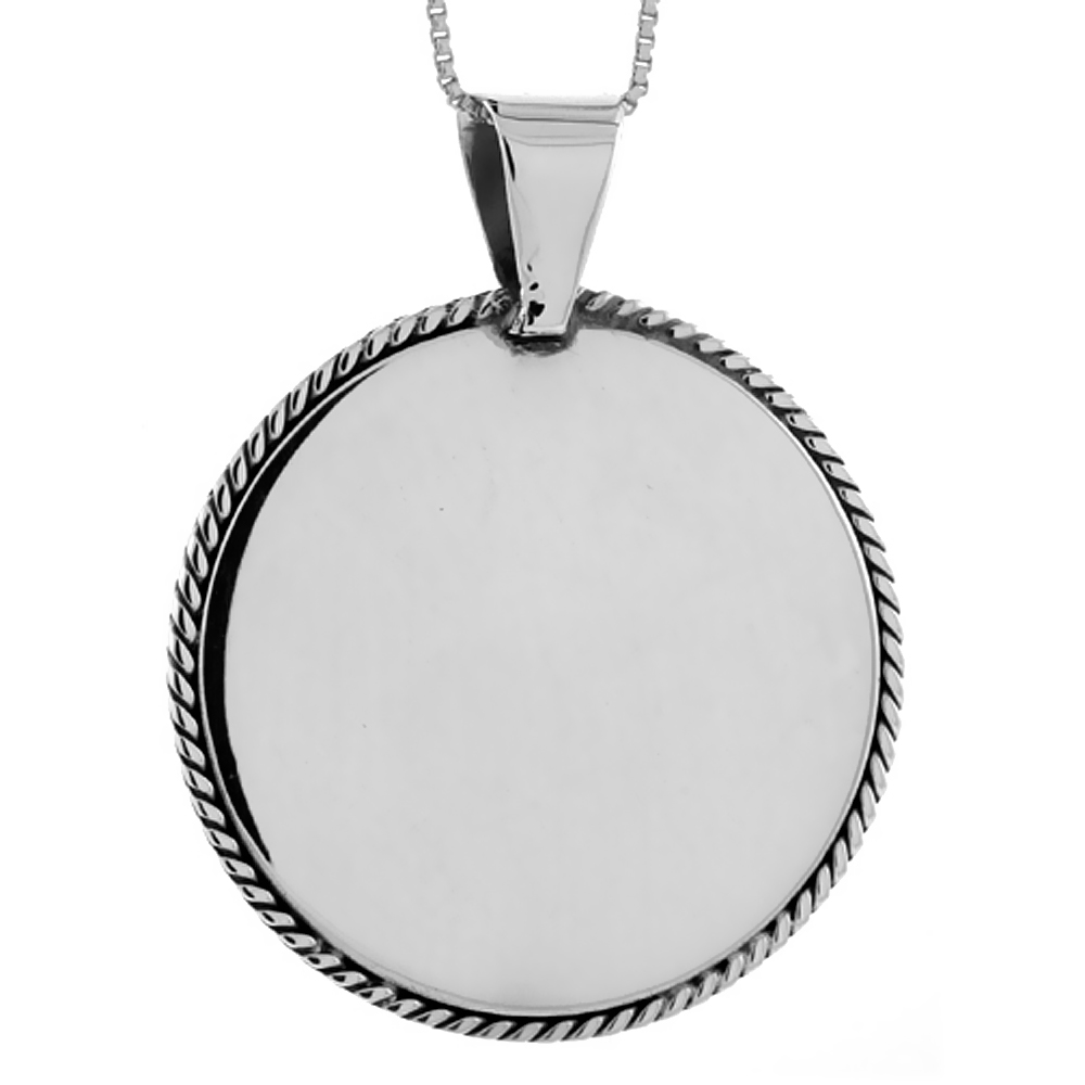 Sterling Silver Round Disc Pendant Engravable Rope Edge Handmade, 1/1/2 inch long