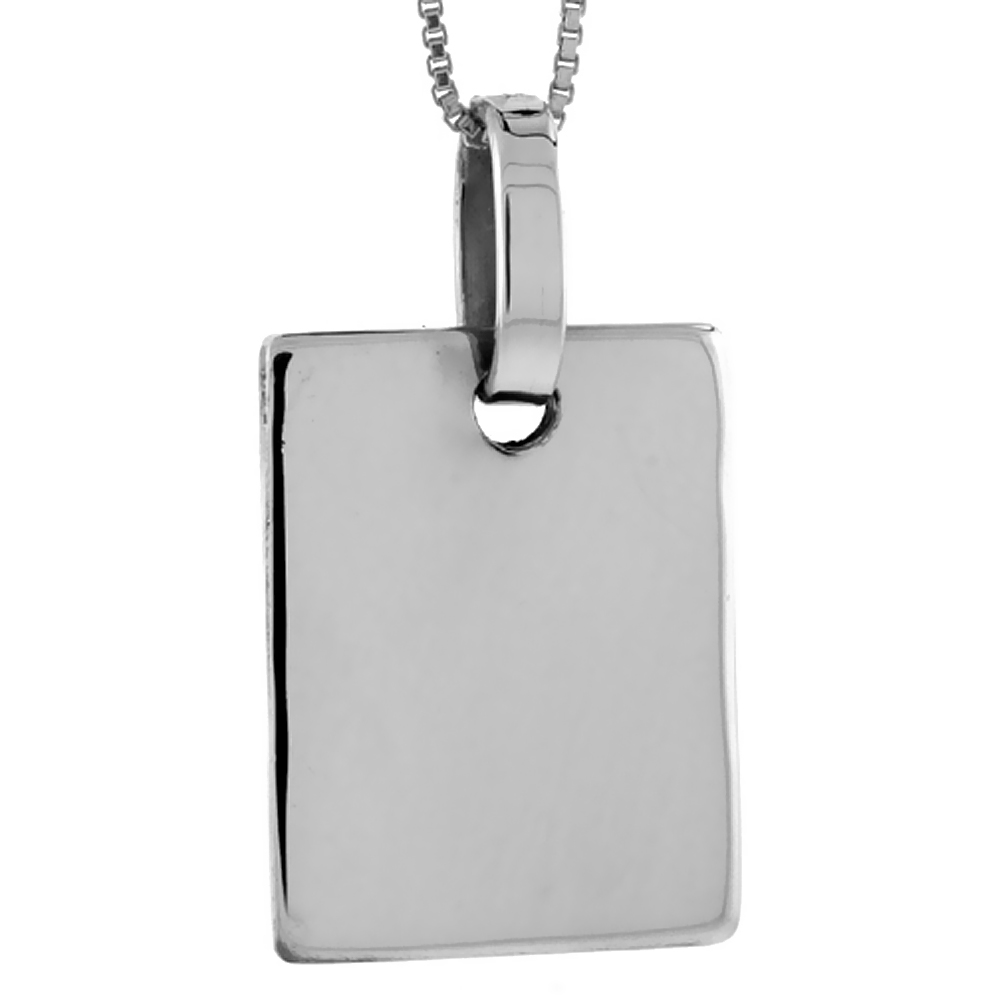 Sterling Silver Square Disc Pendant Engravable Handmade, 1 1/8 inch long