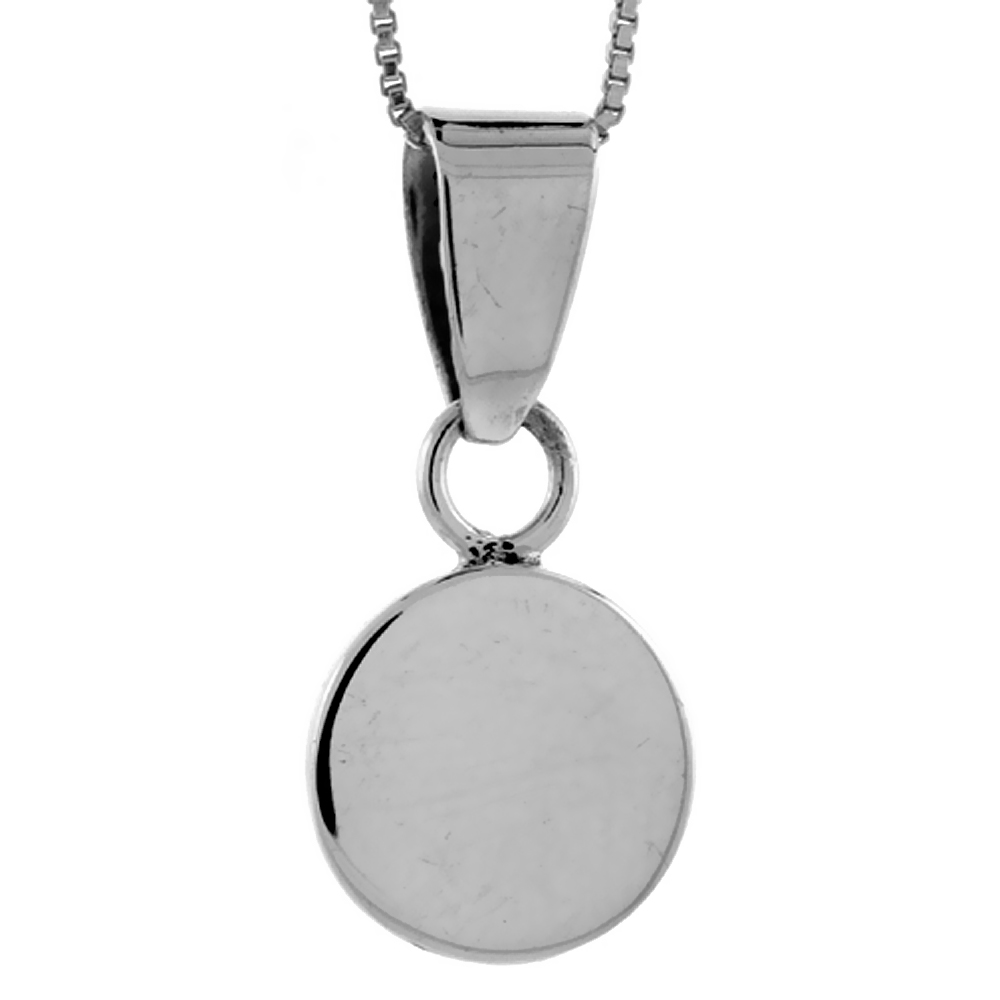 Sterling Silver Small Round Disc Pendant Engravable Handmade, 9/16 inch long