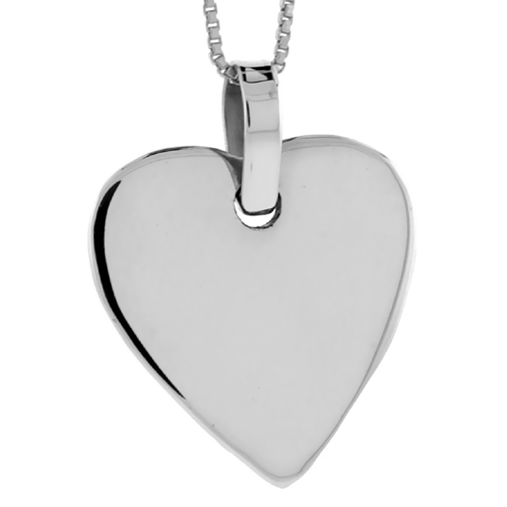 Sterling Silver Heart Shaped Disc Pendant Engravable Handmade, 1 inch long