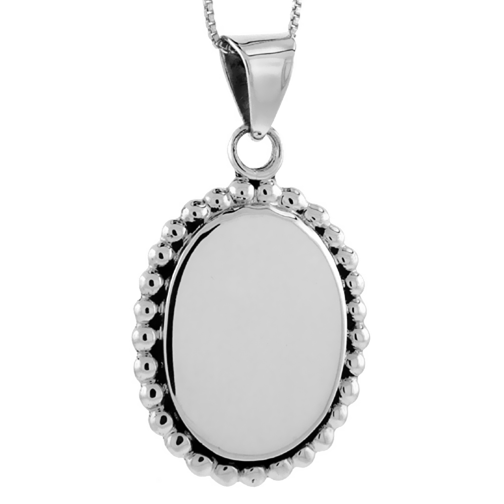 Sterling Silver Beaded Oval Disc Pendant Engravable Rope Edge Handmade, 1 5/16 inch long