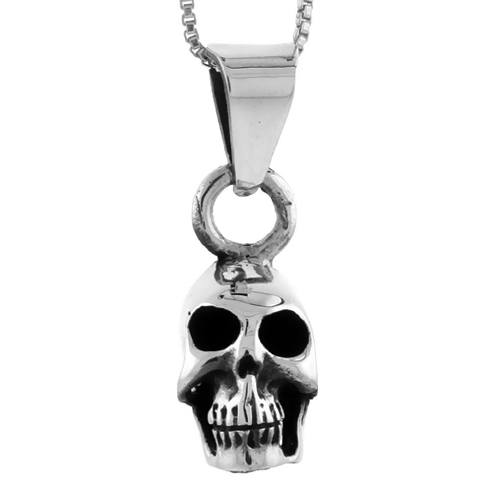 Sterling Silver Skull Pendant Handmade, 3/4 inch long
