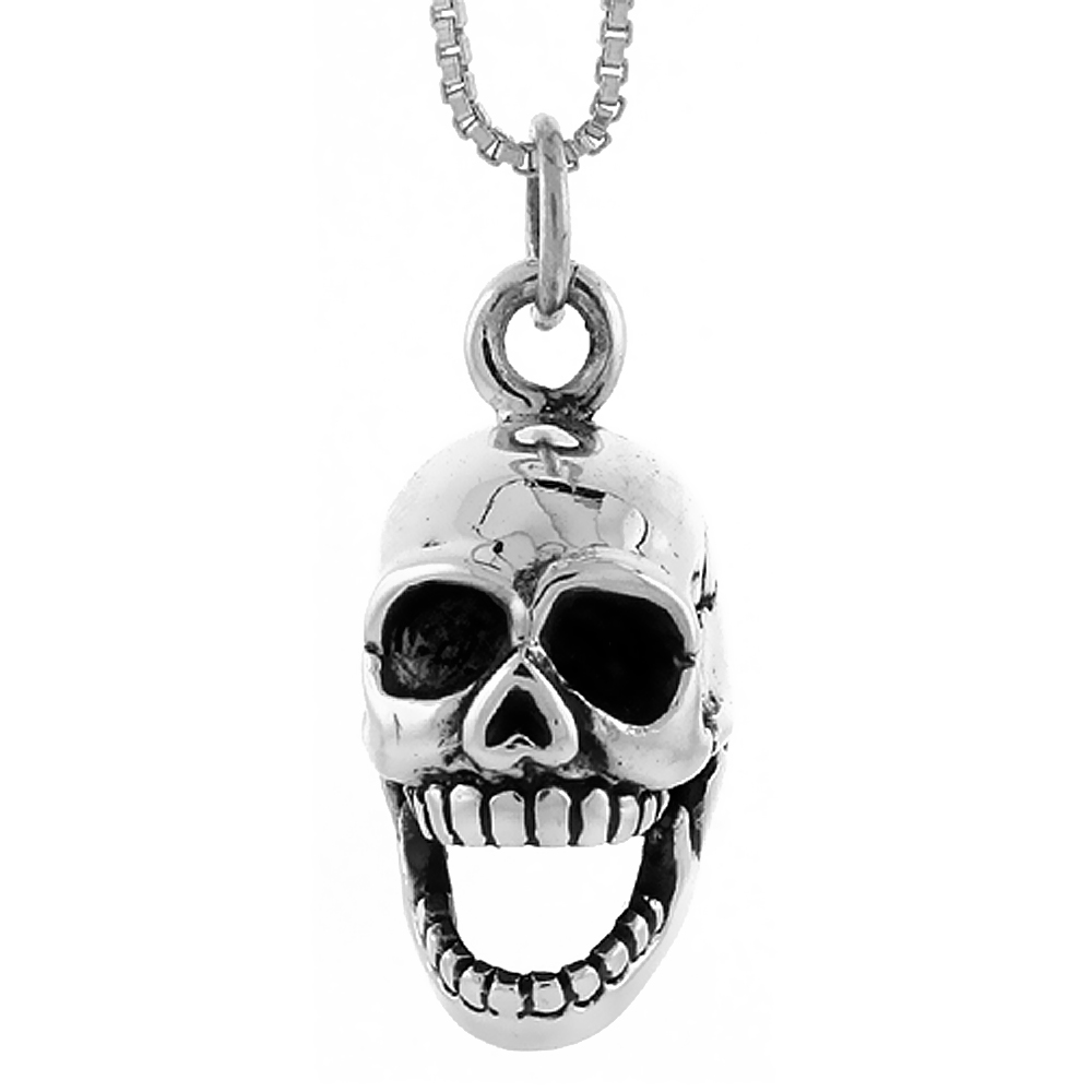 Sterling Silver Skull w/ Movable Jaw Pendant Handmade, 3/4 inch long