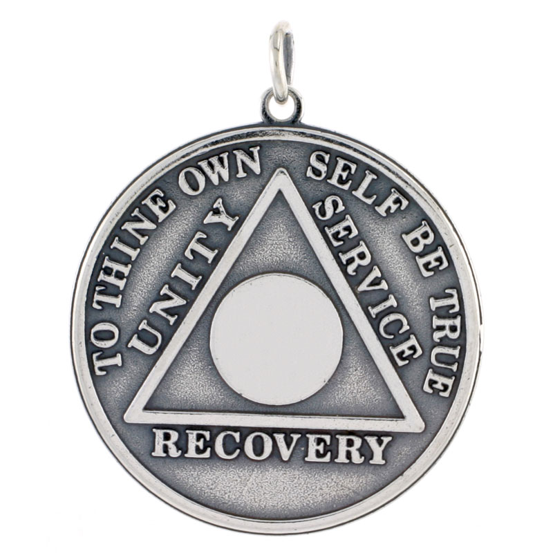 Sterling Silver Sobriety Symbol Recovery Medal, 1 3/8 in. (35 mm) tall