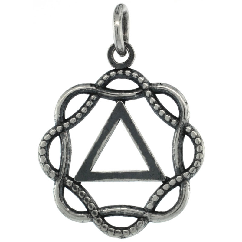 Sterling Silver Sobriety Symbol Recovery Pendant, 15/16 in. (24 mm) tall