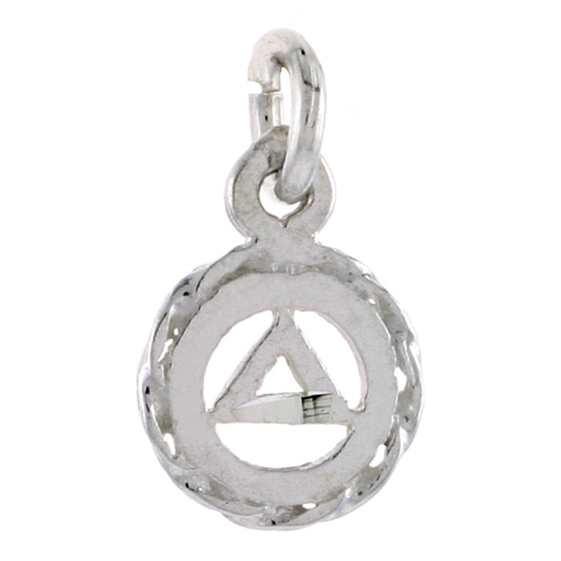 Sterling Silver Sobriety Symbol Recovery Pendant, 9/16 in. (14 mm) tall