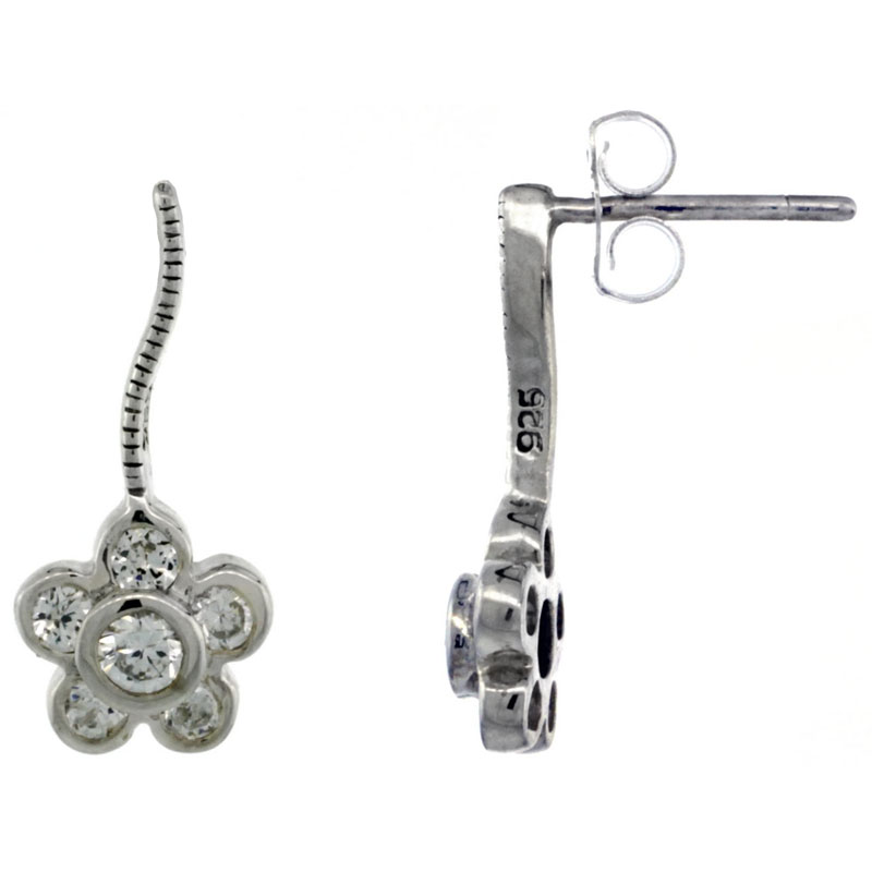Sterling Silver CZ Flower Post Earrings 11/16 in. (17 mm) tall