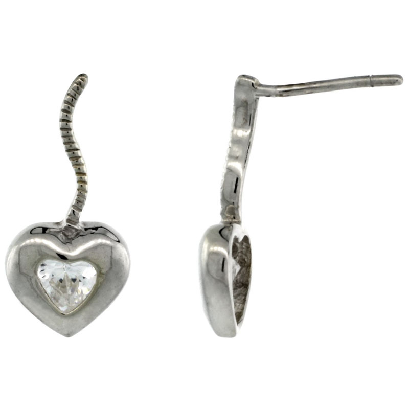 Sterling Silver CZ Heart Post Earrings 11/16 in. (17 mm) tall