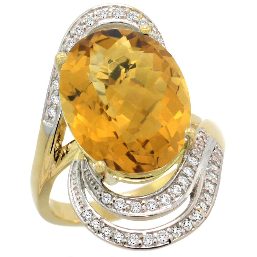 14k Yellow Gold Natural Whisky Quartz Promise Ring Diamond Accents Oval 16x12 mm, sizes 5 - 10