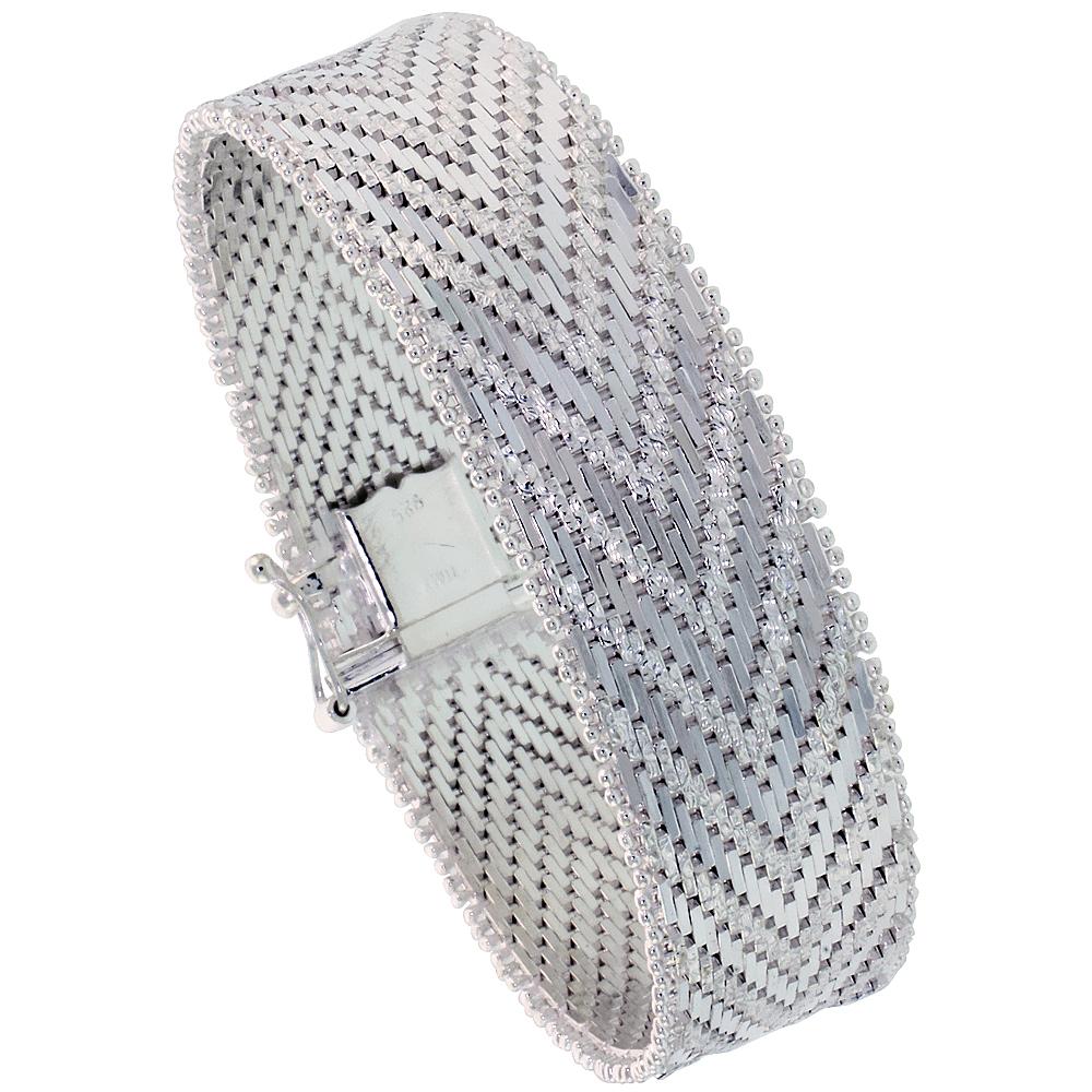 Sterling Silver Italian Riccio Bracelet 21-Row 5/8 inch wide, sizes 7 - 8