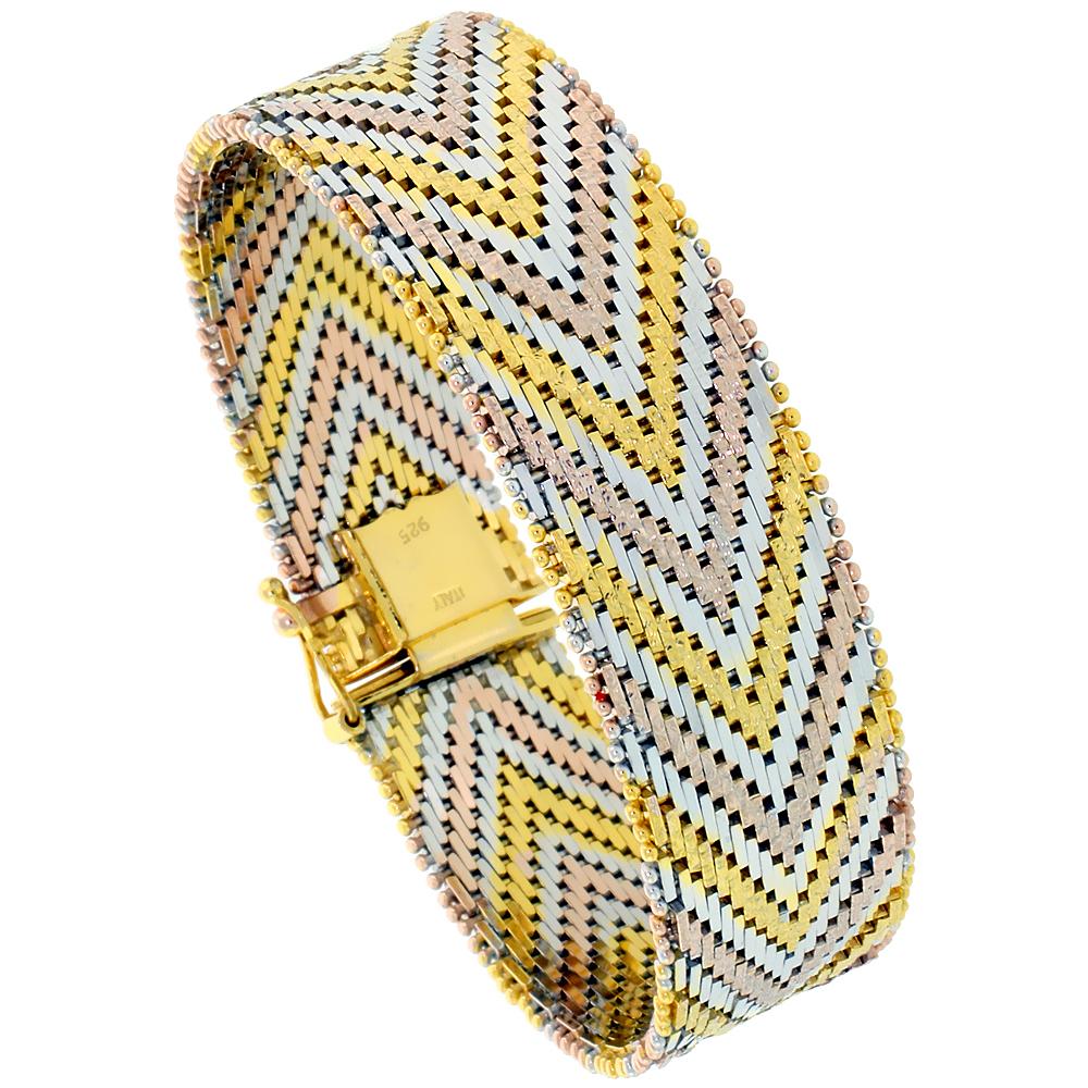 Sterling Silver Italian Tri-color Riccio Bracelet 21-Row 5/8 inch wide, sizes 7 - 8